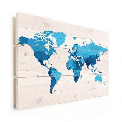 Weltkarte Blautöne Holz