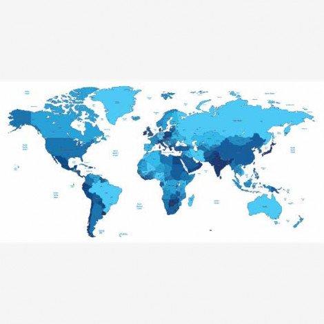 Weltkarte Blautöne Poster