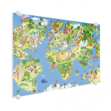 Weltkarte Tiere & Gebäude Acrylglas