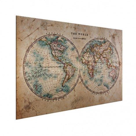 Weltkarte Halbkugeln Aluminium
