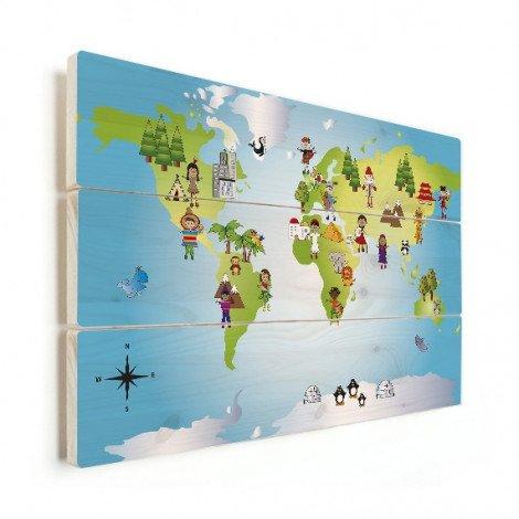 Weltkarte Kleine Freunde Holz