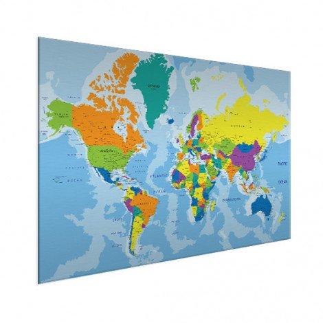 Weltkarte Grelle Farben Aluminium