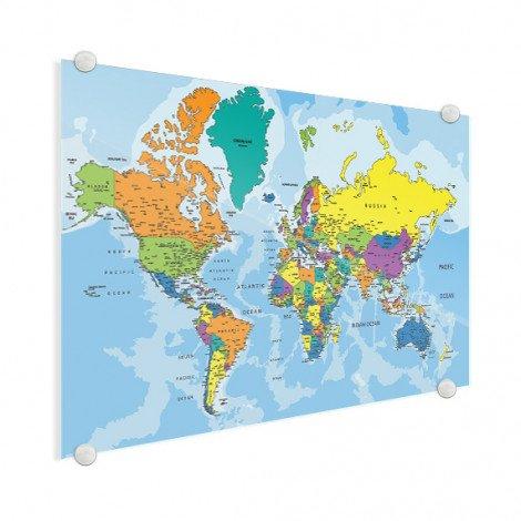 Weltkarte Grelle Farben Acrylglas