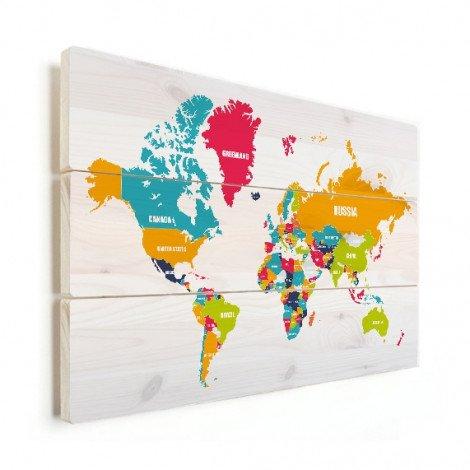 Weltkarte Ländernamen Holz