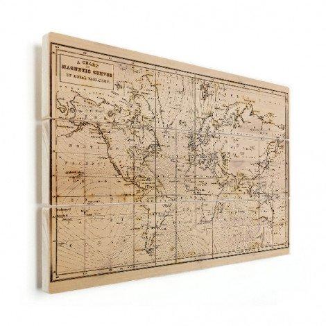 Weltkarte Magnetic Curves Holz