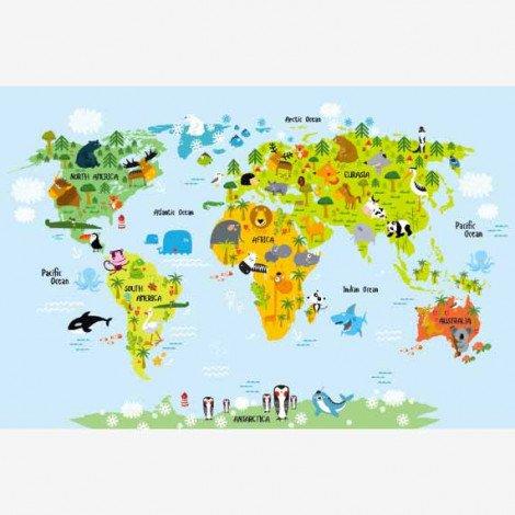 Weltkarte Lustige Tiere Poster