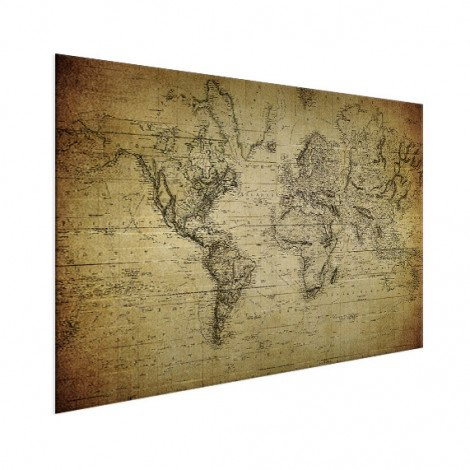 Weltkarte Vintage Aluminium