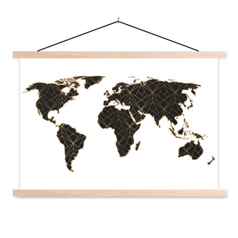 Geometrisch schwarz/gold Textilposter