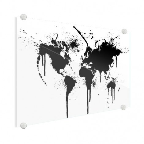 Weltkarte schwarze Tinte Acrylglas