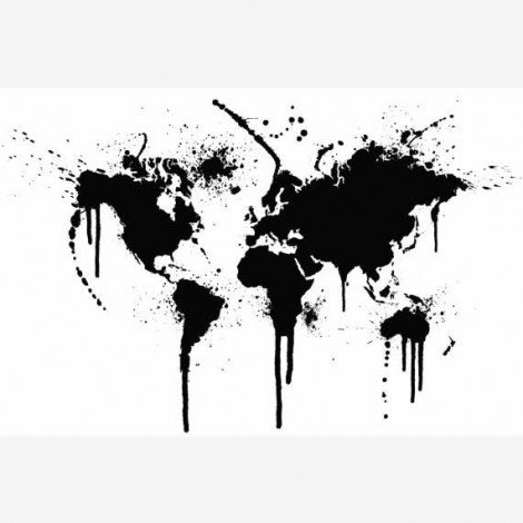 Weltkarte schwarze Tinte Poster