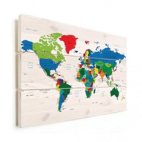 Weltkarte alle Länder Holz