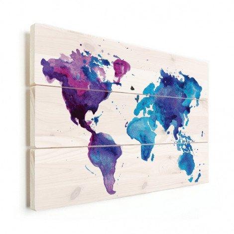 Weltkarte Aquarell blau Holz