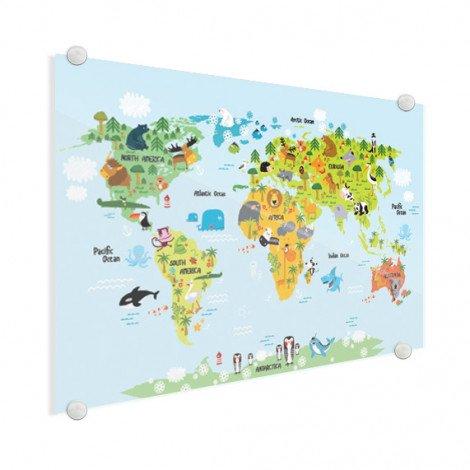 Weltkarte Lustige Tiere Acrylglas