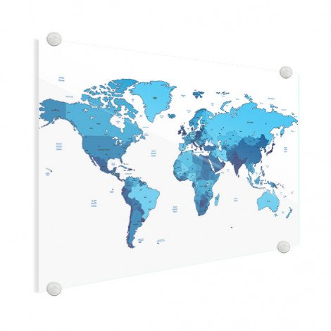 Weltkarte Blautöne Acrylglas