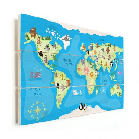Weltkarte Tanzende Tiere Holz