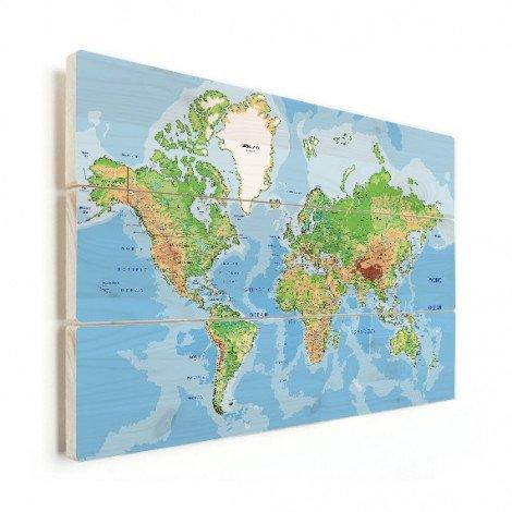 Weltkarte Geografisch Holz