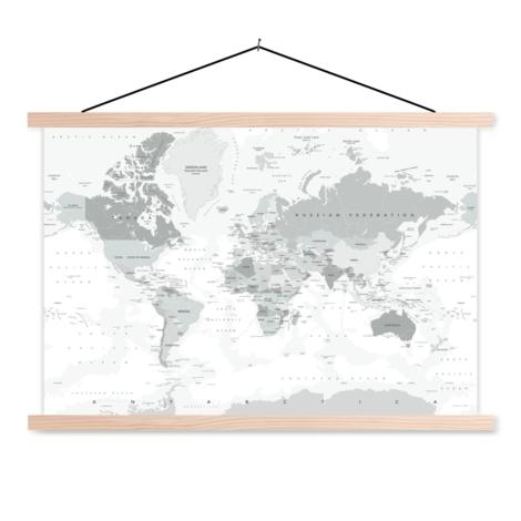 Realistische Weltkarte Graustufen Textilposter