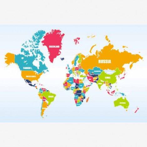 Weltkarte mit Ländernamen