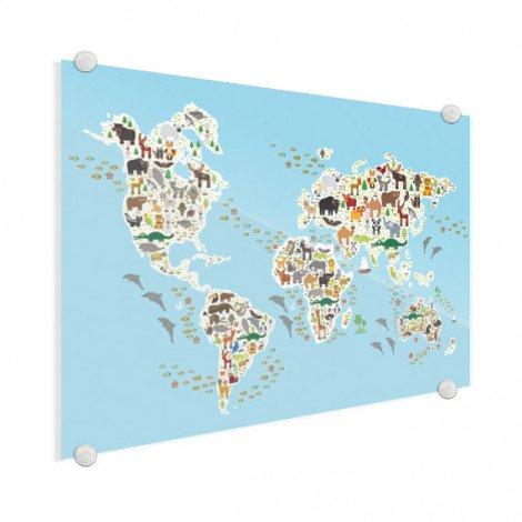 Weltkarte Fauna & Flora Acrylglas