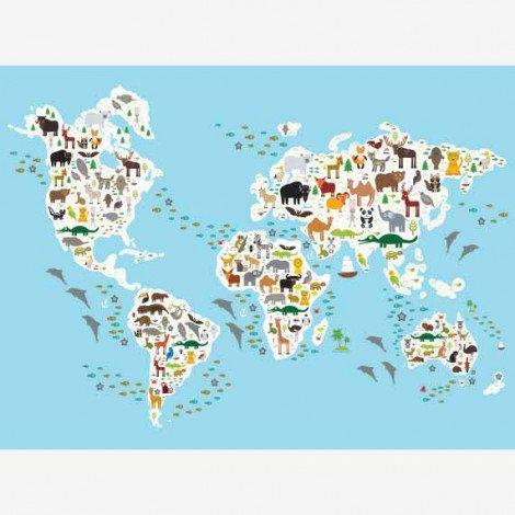 Weltkarte Fauna & Flora Poster