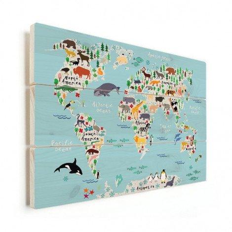 Weltkarte Lustige Tiere Holz