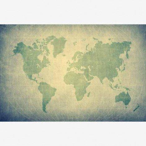 Weltkarte Pergament Grün Blass Poster
