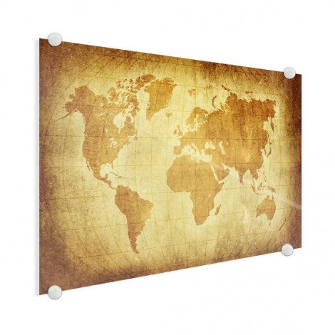 Weltkarte Pergament Acrylglas