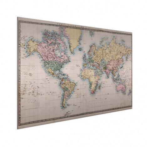 Weltkarte Realistisch Aluminium