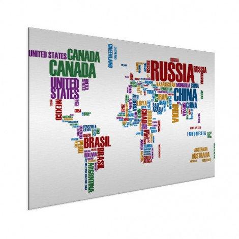 Weltkarte Text bunt Aluminium