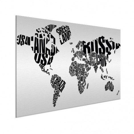 Weltkarte Text schwarz Aluminium