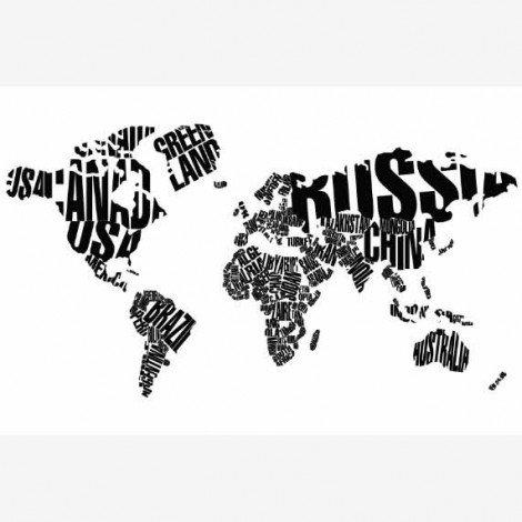 Weltkarte Text schwarz Poster
