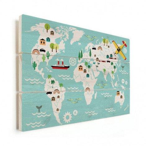 Weltkarte Technisch Holz