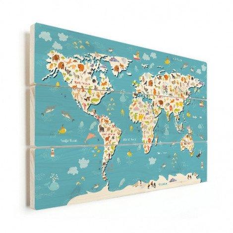 Weltkarte Suchbild Holz