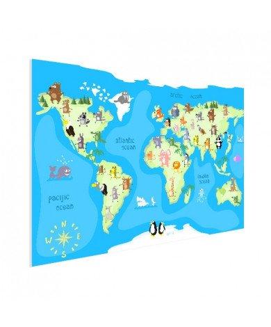 Weltkarte Tanzende Tiere Poster