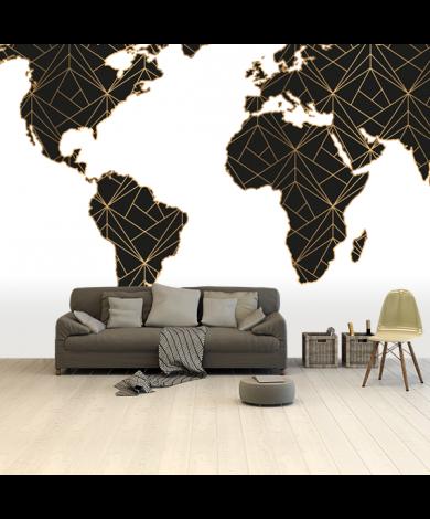 Geometrisch schwarz/gold Tapete