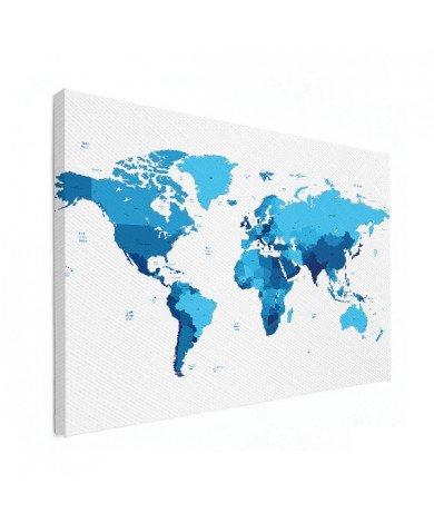 Weltkarte Blautöne Leinwand