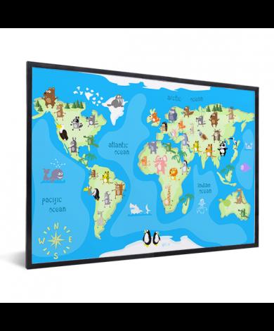 Weltkarte Tanzende Tiere im Rahmen