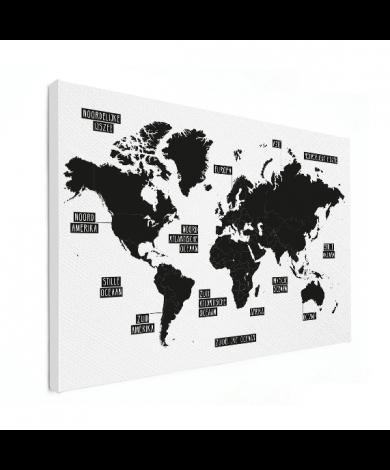 Einfache Weltkarte Schwarz-Weiß Leinwand