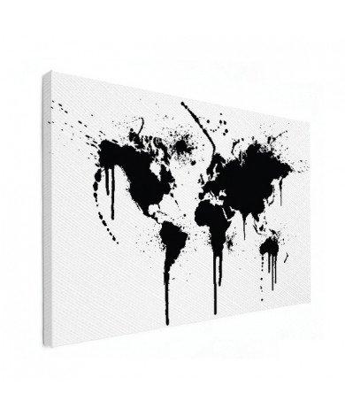 Weltkarte schwarze Tinte Leinwand