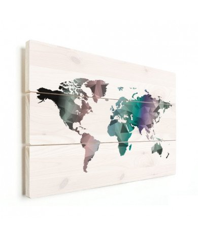 Geometrische Weltkarte Farbe Holz
