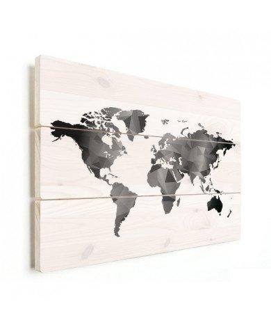 Geometrische Weltkarte Schwarz-Weiß Holz