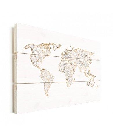 Geometrisch gold-hellgrau Holz