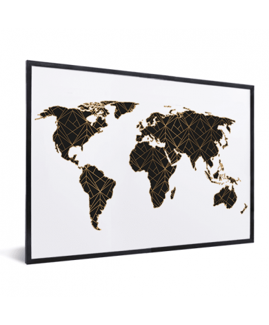 Geometrisch Schwarz / Gold im Rahmen