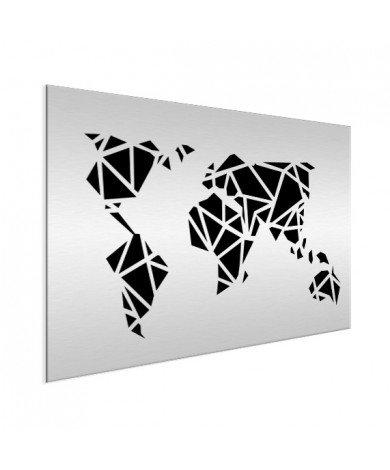 Geometrische Weltkarte Schwarz Aluminium