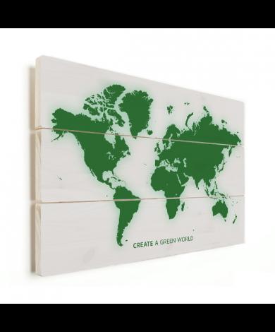 Weltkarte Grün Holz