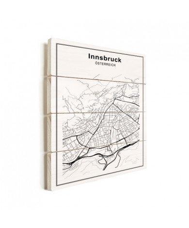 Stadtkarte Innsbruck Schwarz-Weiß Holz