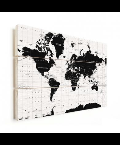 Weltkarte Informativ Holz