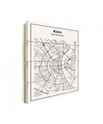 Stadtkarte Köln Schwarz-Weiß Holz