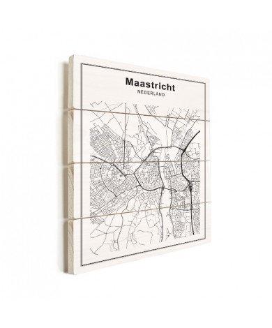 Stadtkarte Maastricht Schwarz-Weiß Holz