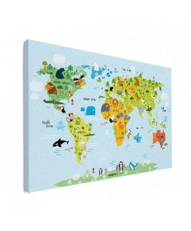 Weltkarte Lustige Tiere Leinwand